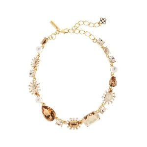 Oscar de la Renta Bold Mixed-Jewel Gold Necklace